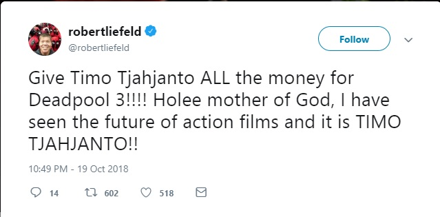 The creator of Deadpool is so amazed with Timo Tjahjanto (source : @roberliefeld)