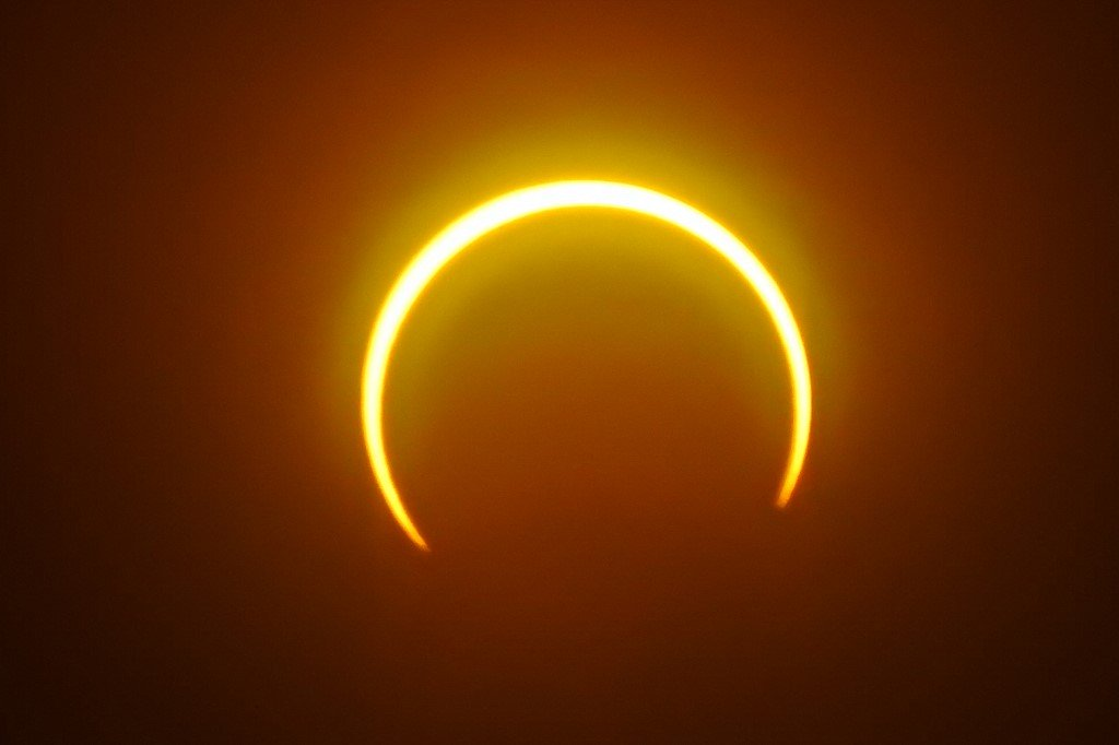The solar eclipse as seen from Balut Island, Mindanao, The Philippines. Image: Ferdinandh Cabrera/AFP