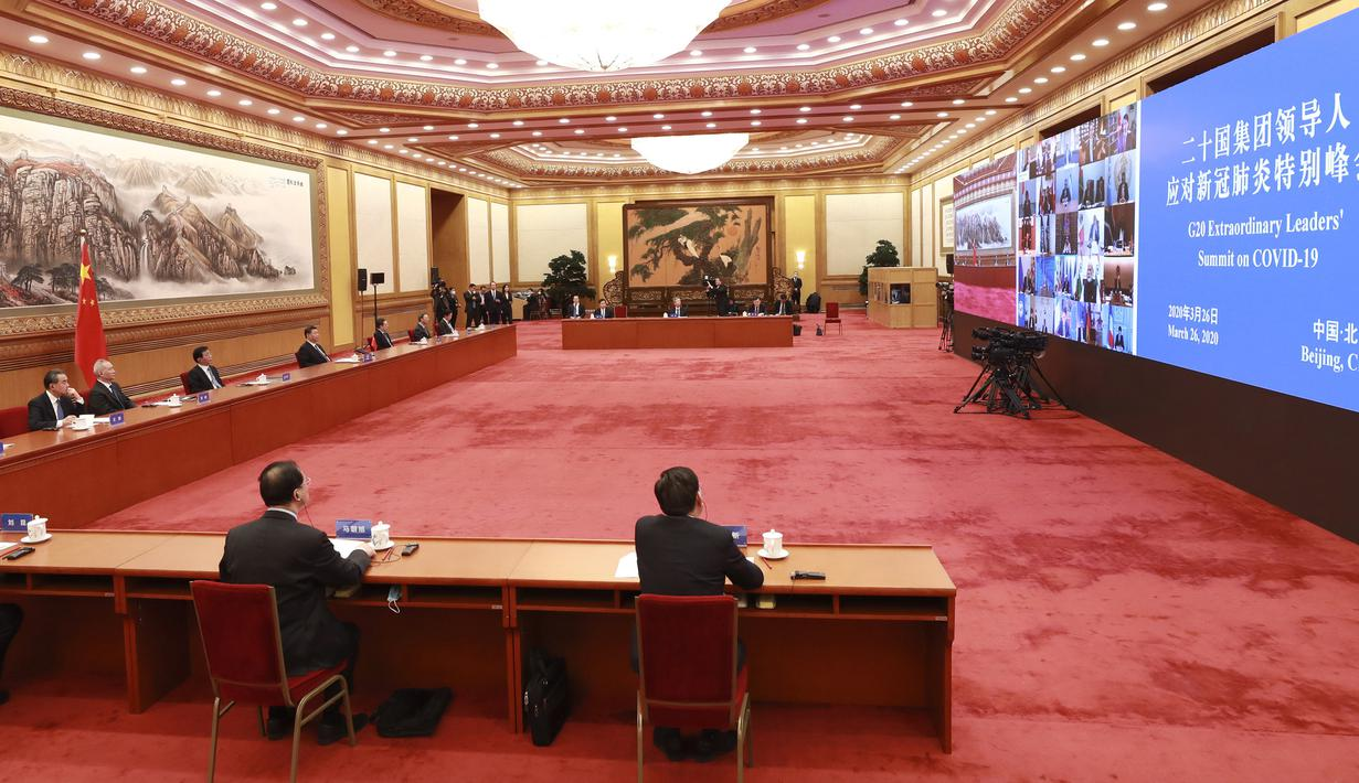 President of People's Republic of China Xi Jinping (fourth from the left) during G20 Virtual Summit from Beijing, China, Thursday (26/3/2020). Image: Pang Xinlei/Xinhua via AP)
