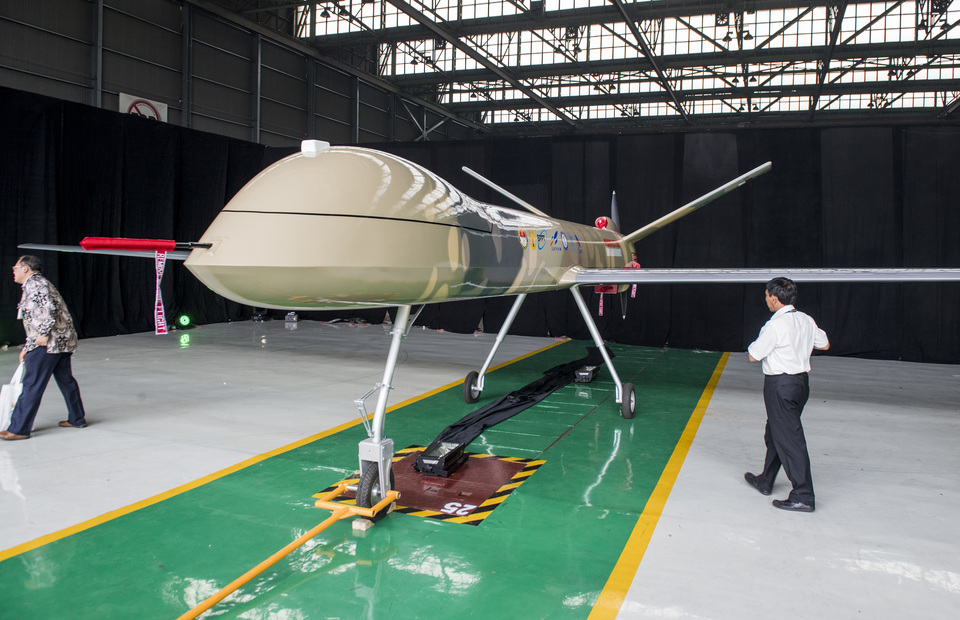 State-run aerospace company Dirgantara Indonesia introduces its first medium-range drone for military and civilian uses at the company's hangar in Bandung, West Java, on Monday. Image: Antara Photo/M Agung Rajasa