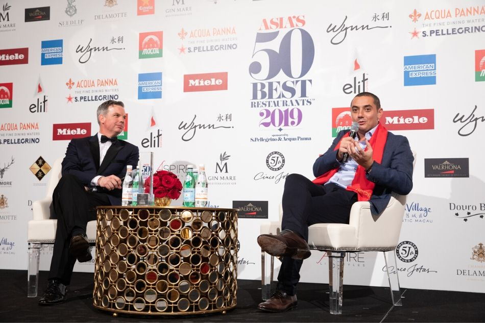 William Drew (left) with Chef Julien Royer of Odette at the 2019 ceremony in Macau. Image: ABS-CBN