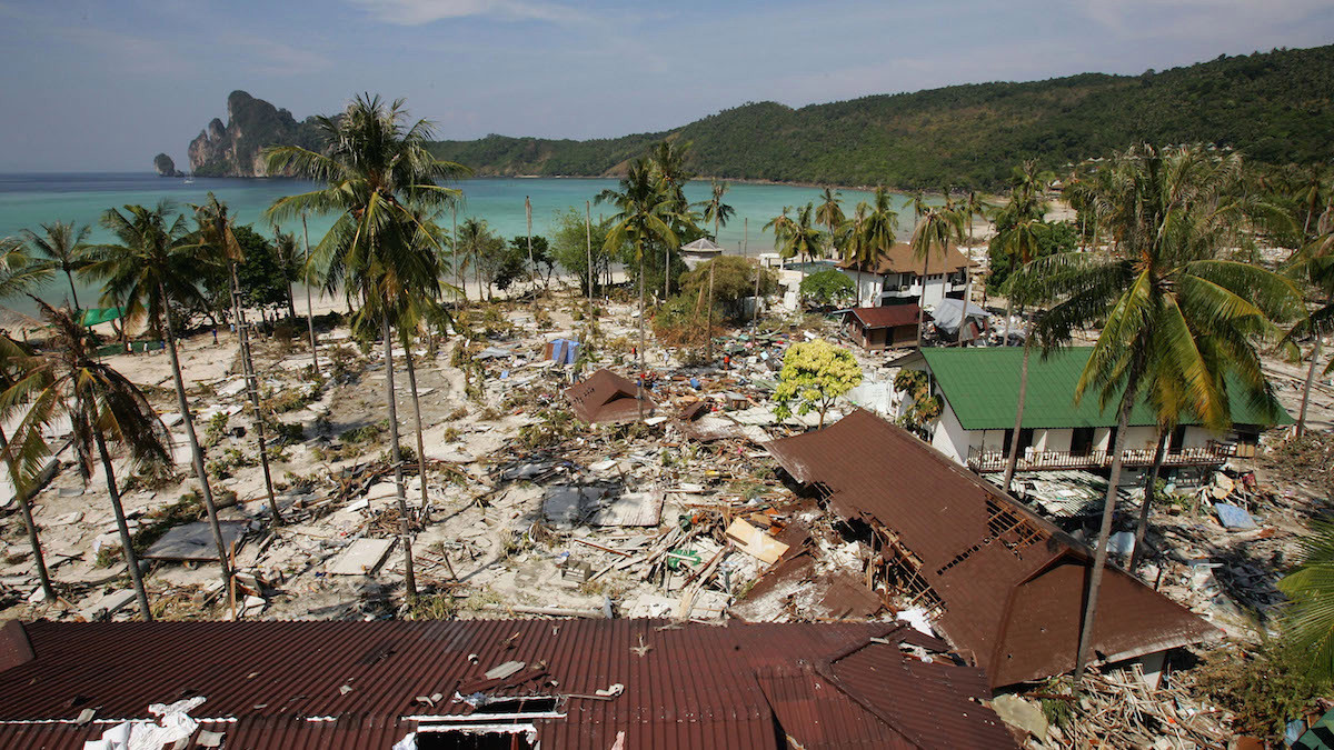 All over Ton Sai Bay, the heart of Koh Phi Phi shops, restaurants and bungalows were totally wiped out following a Tsunami December 28, 2004 on Phi Phi Island, Thailand. Hundreds were killed when an earthquake caused a Tsunami wave destroying everything in its path. Image: Insider.com/Getty Images