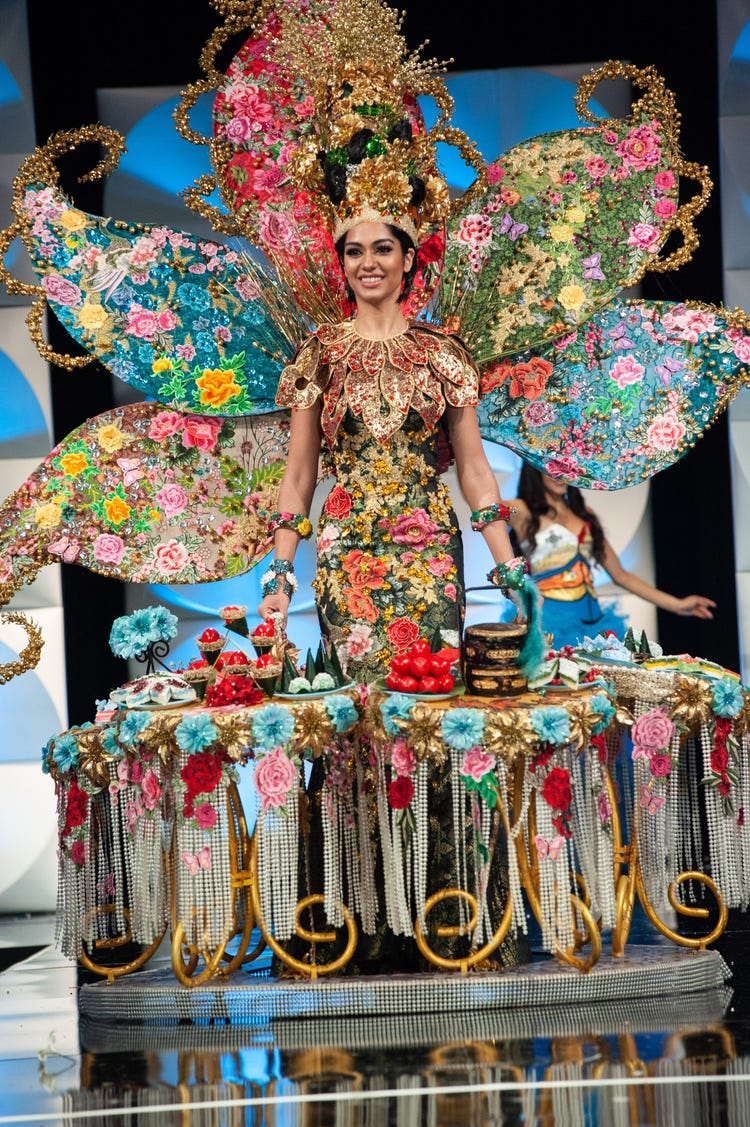 Miss Malaysia wore a floral costume during the 2019 Miss Universe pageant. Image: Patrick Prather/Miss Universe