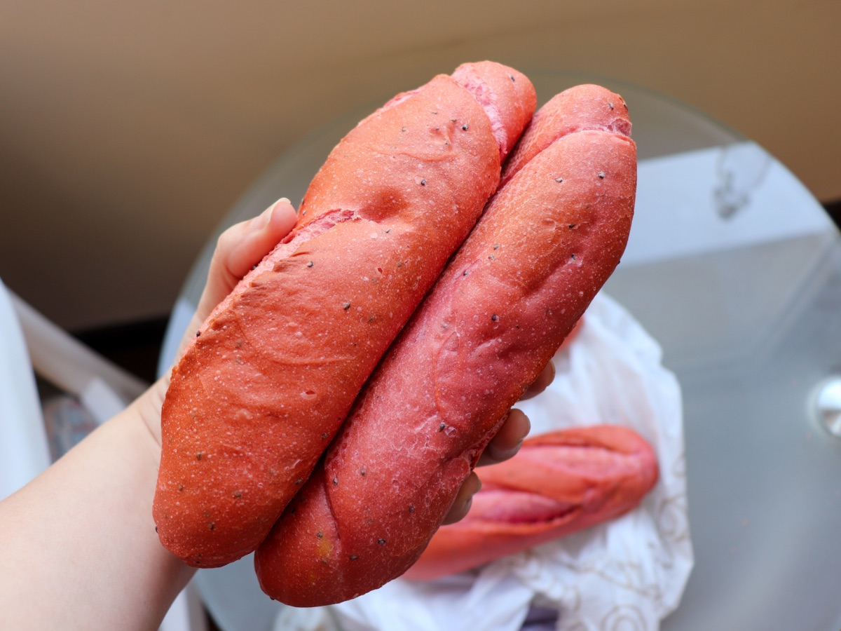 Pink baguette made of red dragon fruit smoothies. Image: Kate Taylor/Business Insider