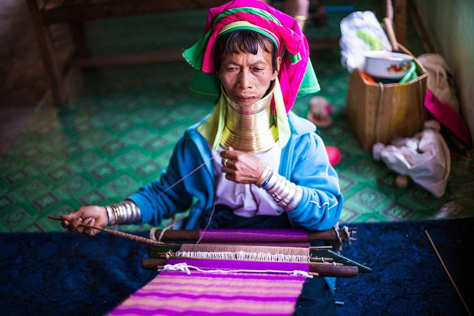 'Traditional daily work', a weaver in Myanmar wearing traditional jewelry. Finalist. PHOTO: @KO_ZAW, SINGAPORE - AGORA -