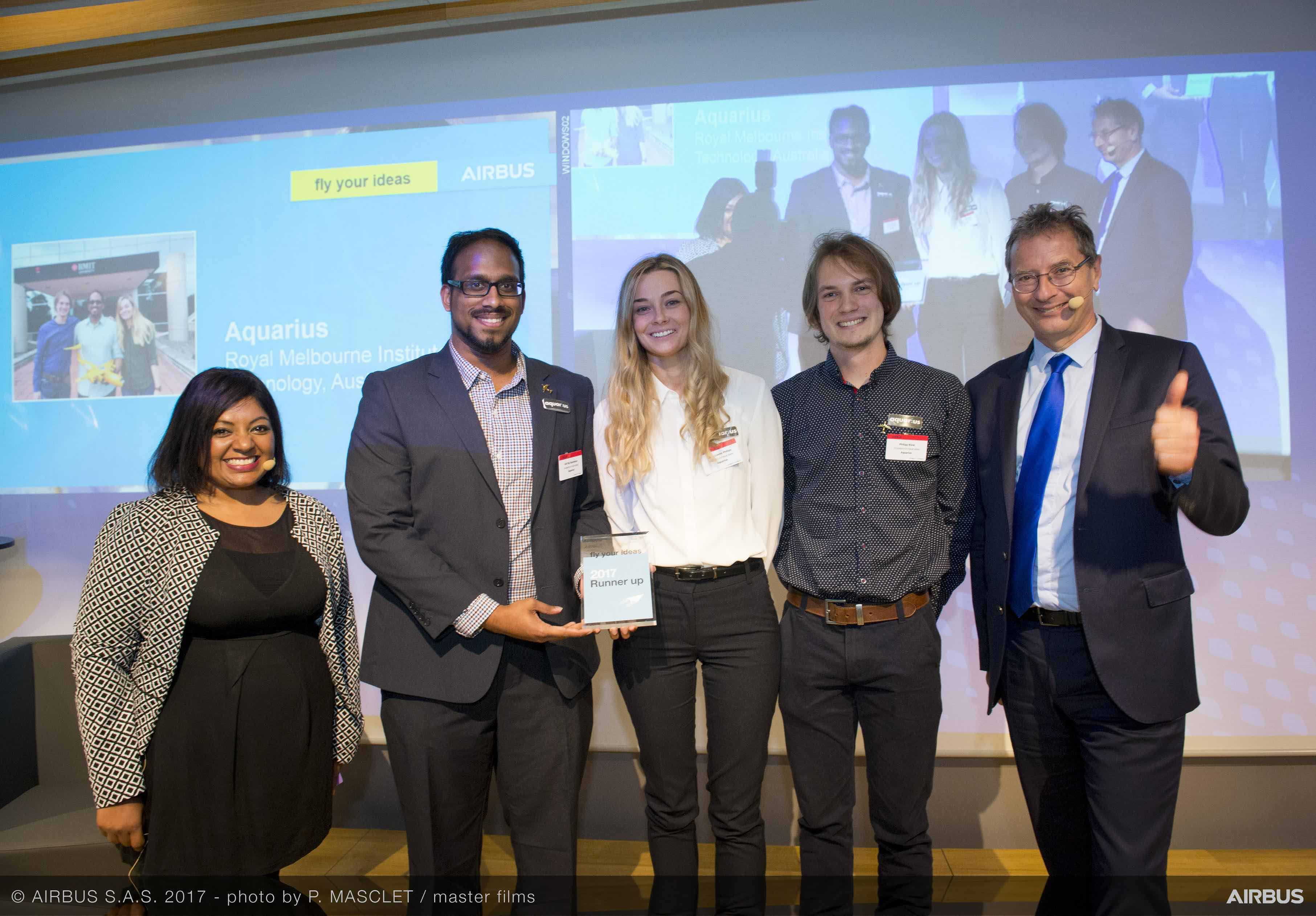 Airbus Fly Your Ideas 2017 Runners-up: Team Aquarius from Royal Melbourne Institute of Technology (RMIT), Australia. Image: Airbus