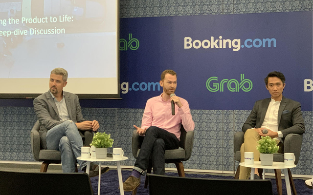 From left: Booking.com's Angel Llull Mancas and David Adamczyk; and Grab's Shawn Heng sharing more about the partnership at the press conference yesterday. Image: TTG Asia