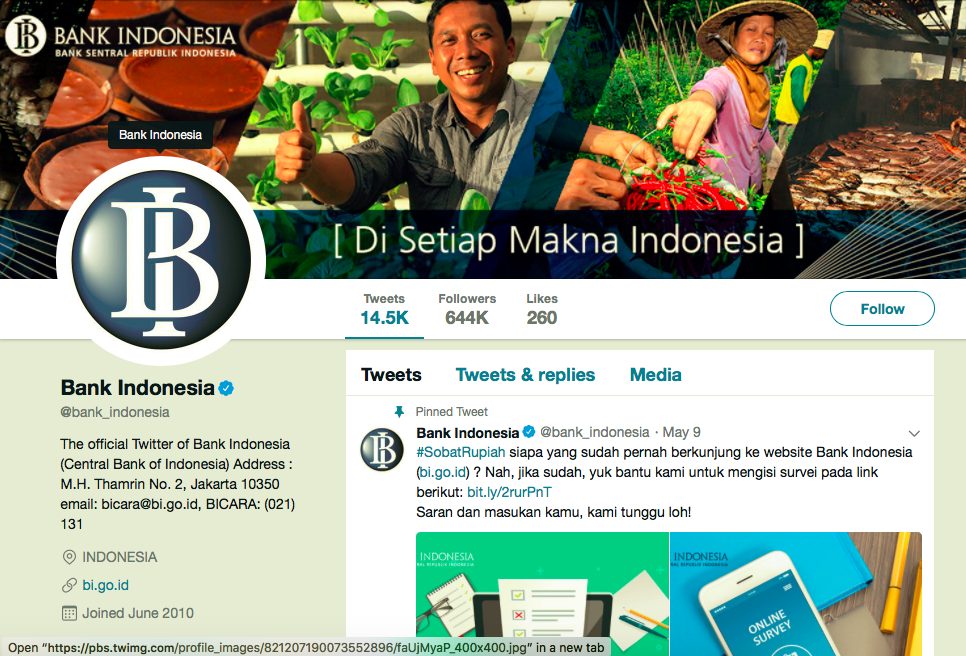 Bank Indonesia's Twitter Account. Image: Twitter