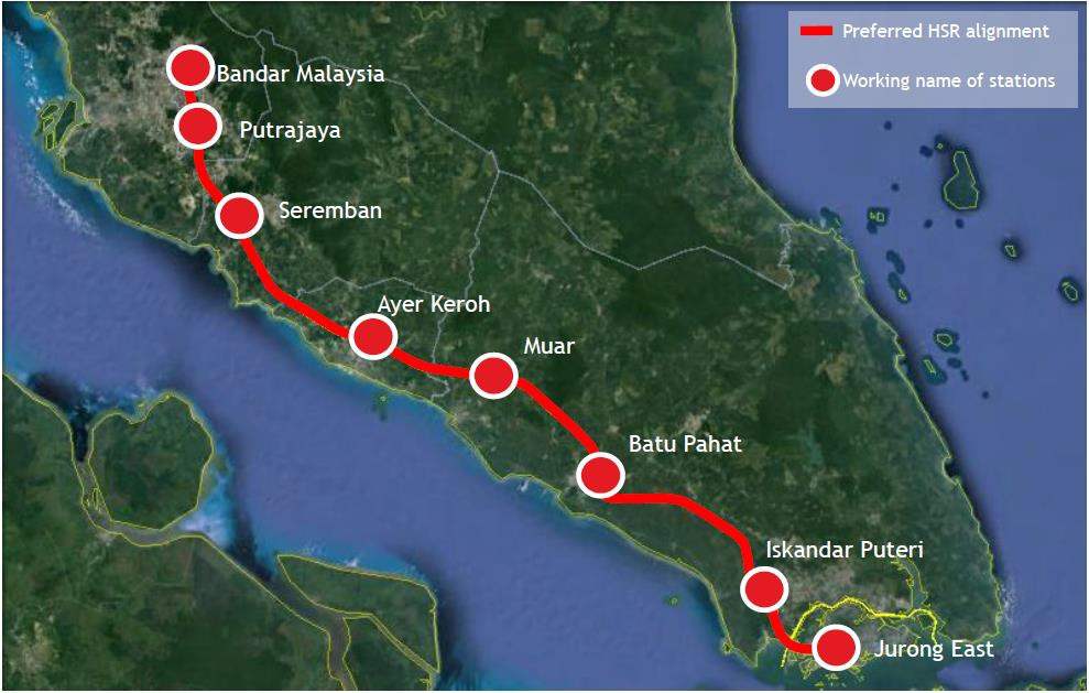 Map of the preferred alignment of the KL-Singapore High-Speed Rail. image: Channel News Asia