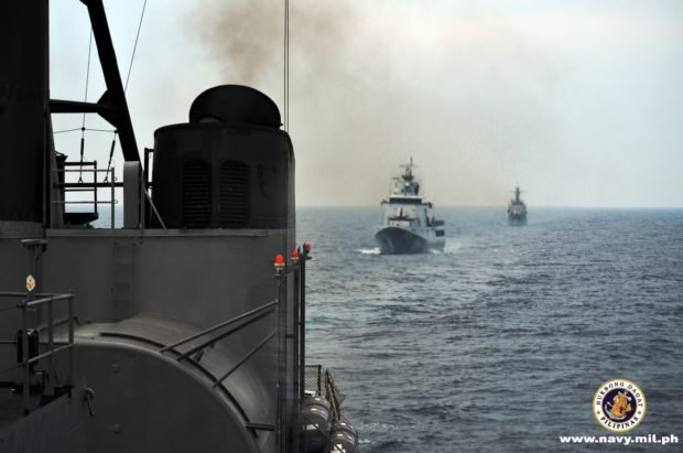 Philippines, Vietnam and Brunei navies hold maritime drills near the South China Sea while en route to the first ever Asean-US maritime exercises. Image: the Philippine Navy