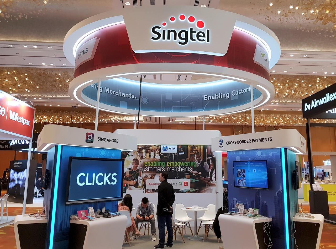 A Singtel booth is pictured at the Money 20/20 Asia Fintech Trade Show in Singapore March 21, 2019. Image: REUTERS/Anshuman Daga