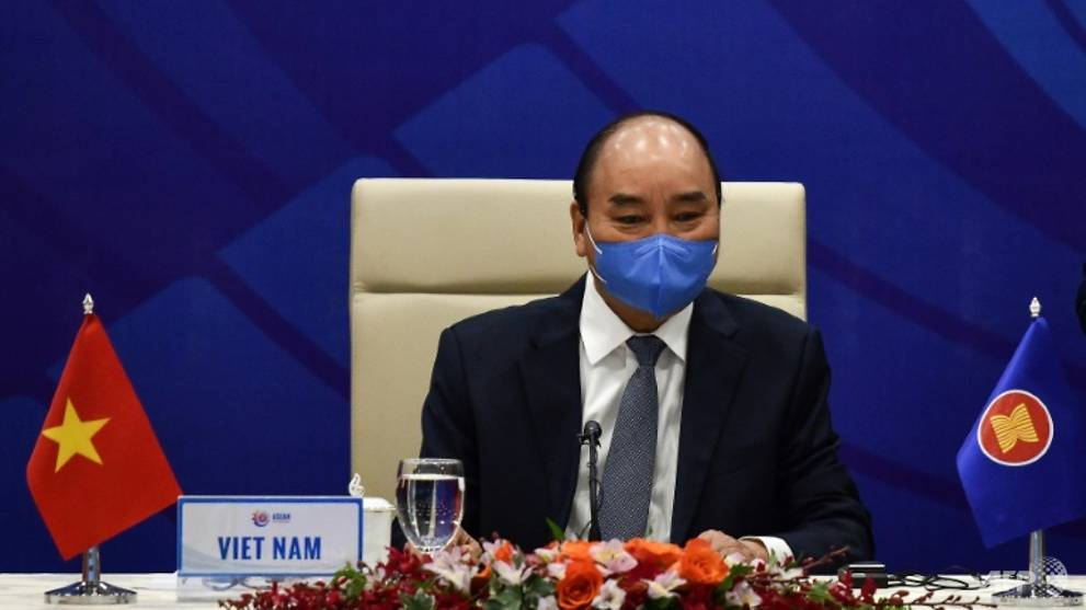 Vietnam's Prime Minister Nguyen Xuan Phuc waits for the start of the ASEAN meeting Image: AFP/Manan VATSYAYANA