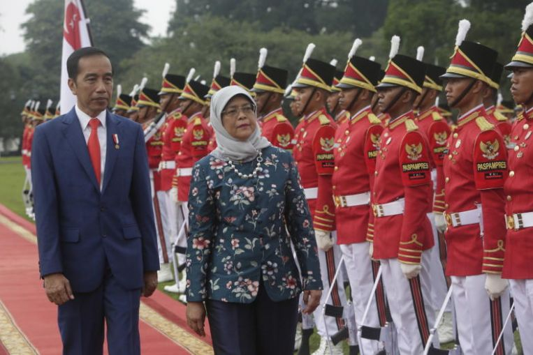 Indonesian President Joko Widodo and Singapore President Halimah Yacob inspecting an honour guard at the Bogor Palace on Feb 4, 2020. Image: EPA-EFE