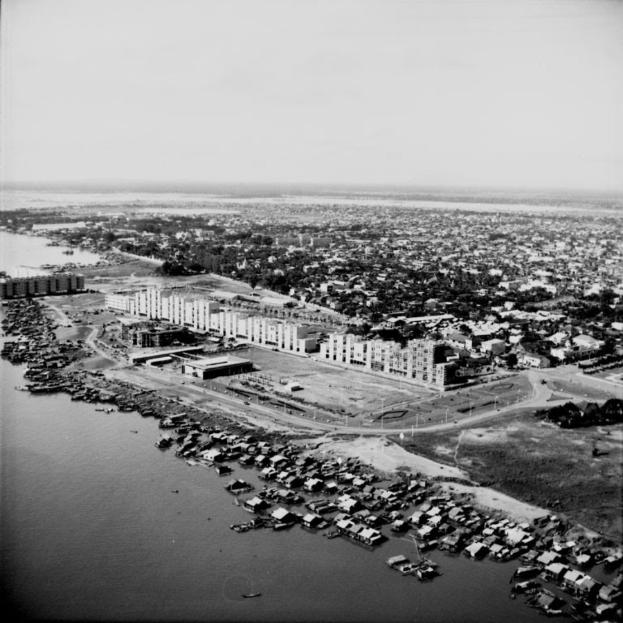 An old photograph shows the White Building after its completion in 1963.