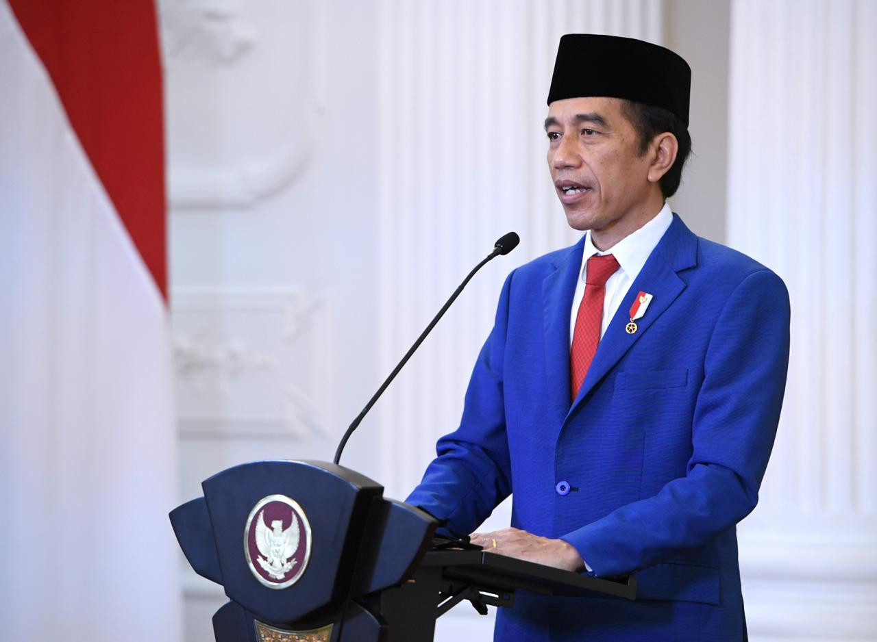 """President Joko """"Jokowi"""" Widodo delivers his address at the United Nations General Assembly, which was broadcast virtually on Sept. 23 (Presidential Secretariat Press Bureau/Lukas)"""